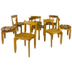 "Set of  8 ""Thierry"" Oak Chairs by Guillerme et Chambron, circa 1960, France"