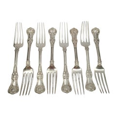 Set of 8 Tiffany & Co Sterling Silver English King Forks with Monogram