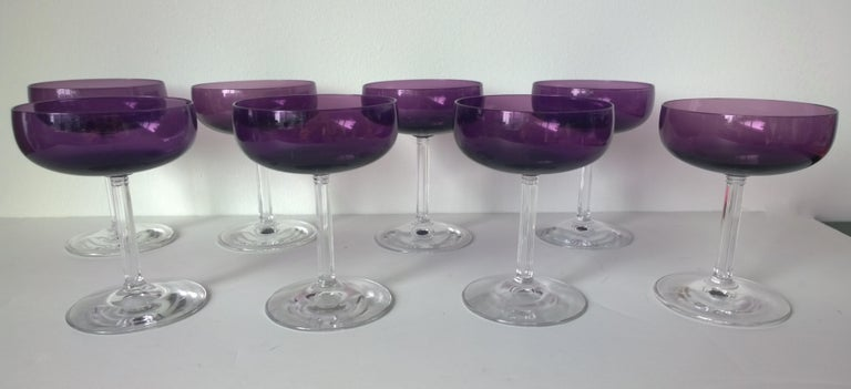 Mid-Century Modern S/8 Translucent Purple & Clear Fluted Stem Fostoria Crystal Champagne Coupes For Sale