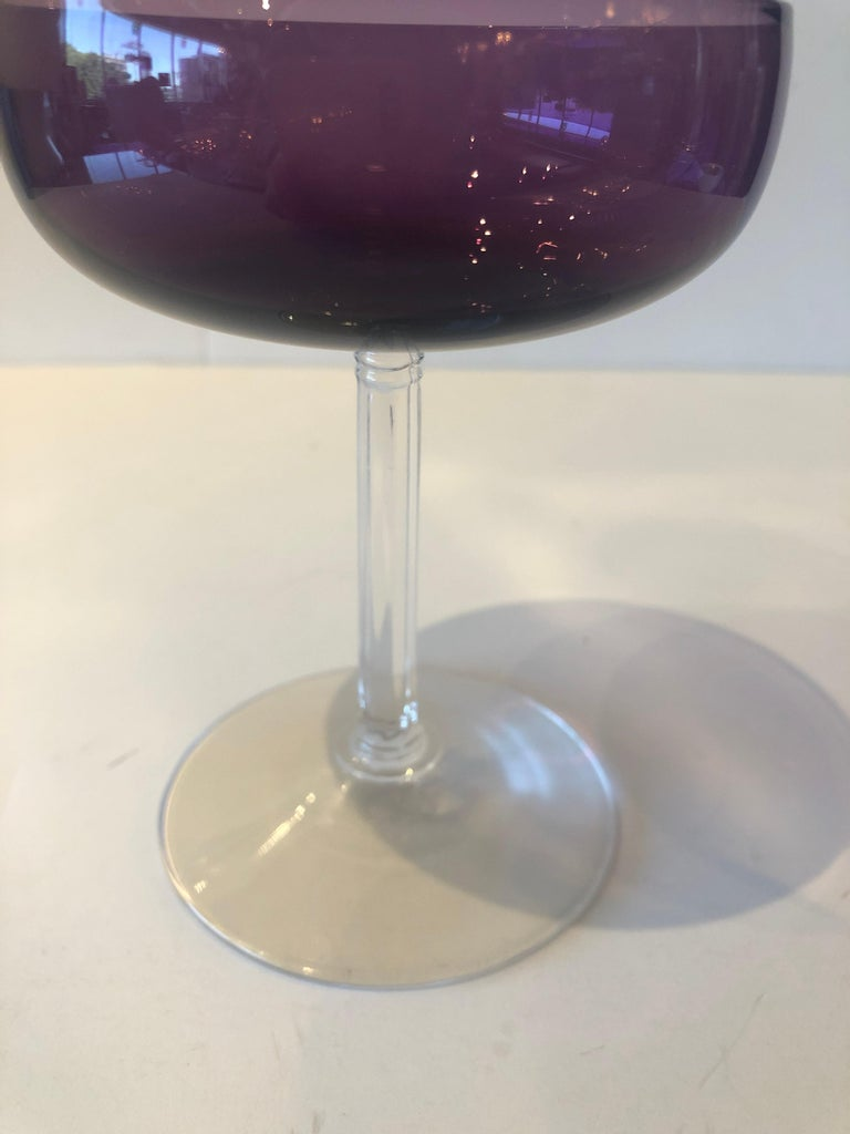 S/8 Translucent Purple & Clear Fluted Stem Fostoria Crystal Champagne Coupes For Sale 2
