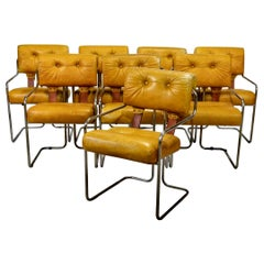 """Set of 8 """"Tucroma"""" Pace Chairs in Camel Leather by Guido Faleschini"""