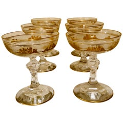 Set of 8 Val Saint Lambert Champagne Coupes Decorated with Cameo Cut of Cherubs