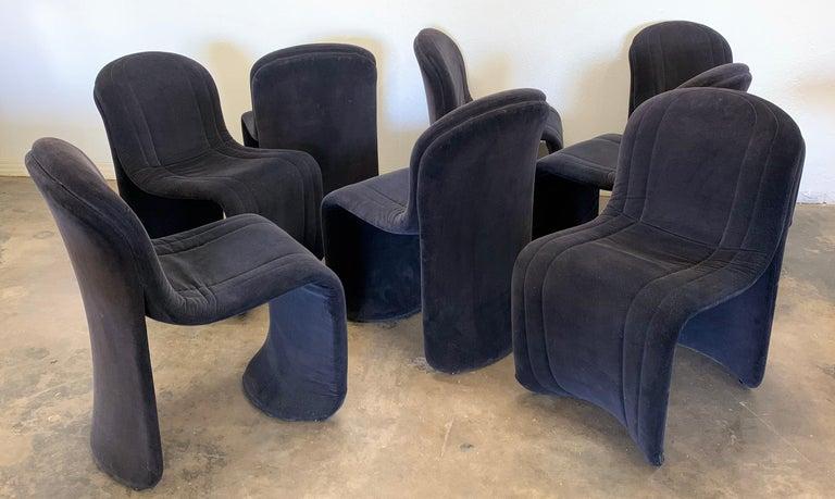 Post-Modern Set of 8 Velvet Postmodern Italian Dining Chairs
