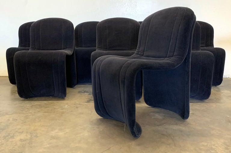 Late 20th Century Set of 8 Velvet Postmodern Italian Dining Chairs