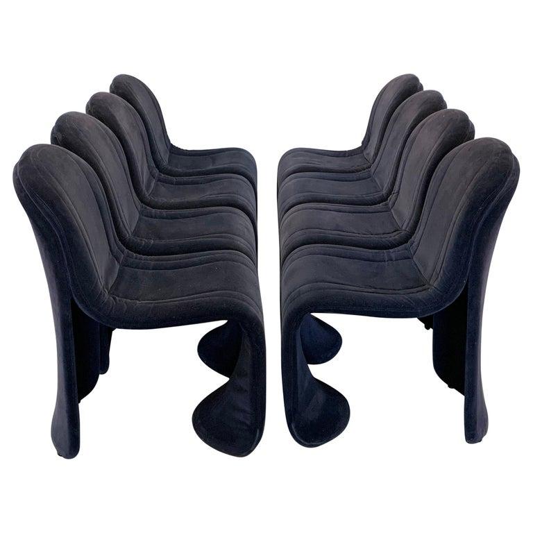 Set of 8 Velvet Postmodern Italian Dining Chairs