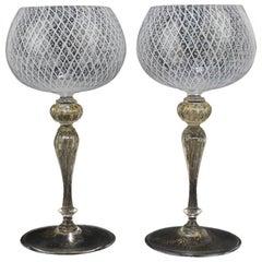 Set of 8 Venetian or Murano Glass Reticulo Filigrana Decorated Wine Goblets