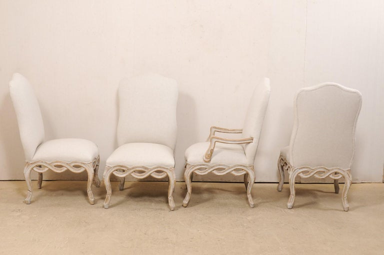 Set of 8 Venetian-Style Upholstered Dining Chairs w/ Pierce-Carved Ribbon Skirts For Sale 4
