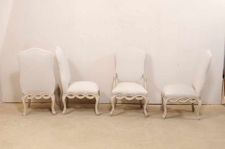 American Set of 8 Venetian-Style Upholstered Dining Chairs w/ Pierce-Carved Ribbon Skirts For Sale