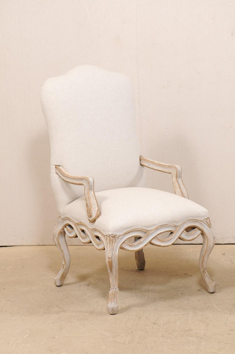 Set of 8 Venetian-Style Upholstered Dining Chairs w/ Pierce-Carved Ribbon Skirts In Good Condition For Sale In Atlanta, GA