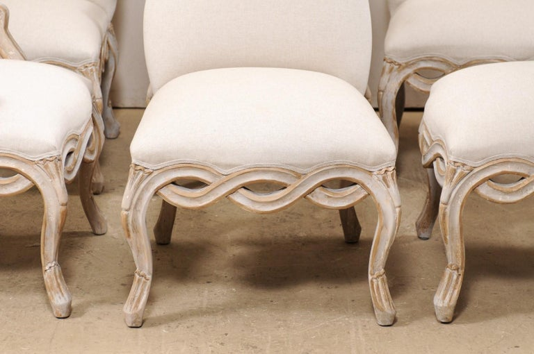 20th Century Set of 8 Venetian-Style Upholstered Dining Chairs w/ Pierce-Carved Ribbon Skirts For Sale