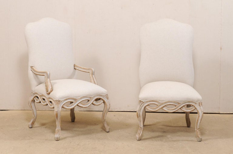 Upholstery Set of 8 Venetian-Style Upholstered Dining Chairs w/ Pierce-Carved Ribbon Skirts For Sale