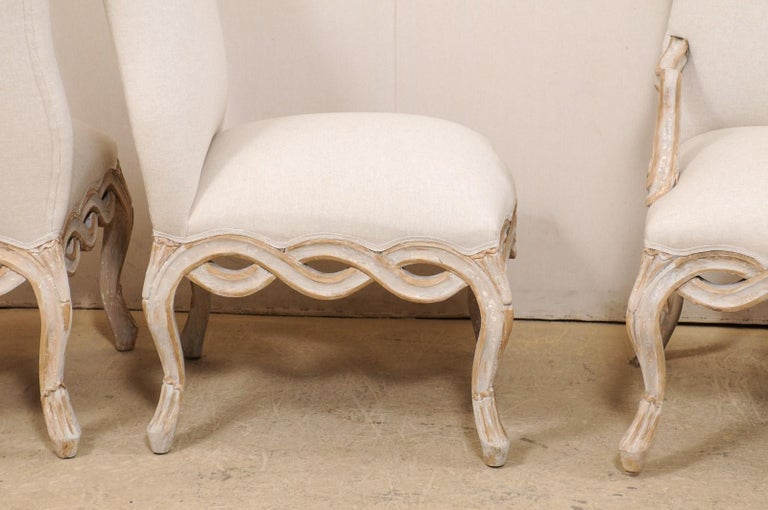 Set of 8 Venetian-Style Upholstered Dining Chairs w/ Pierce-Carved Ribbon Skirts For Sale 1