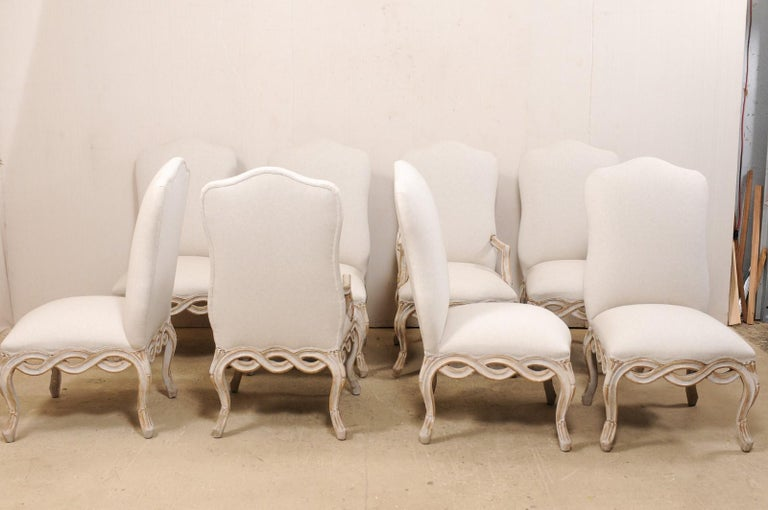 Set of 8 Venetian-Style Upholstered Dining Chairs w/ Pierce-Carved Ribbon Skirts For Sale 2