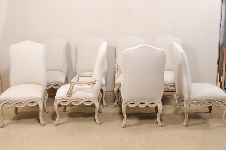 Set of 8 Venetian-Style Upholstered Dining Chairs w/ Pierce-Carved Ribbon Skirts For Sale 3