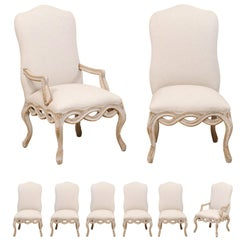 Set of 8 Venetian-Style Upholstered Dining Chairs w/ Pierce-Carved Ribbon Skirts