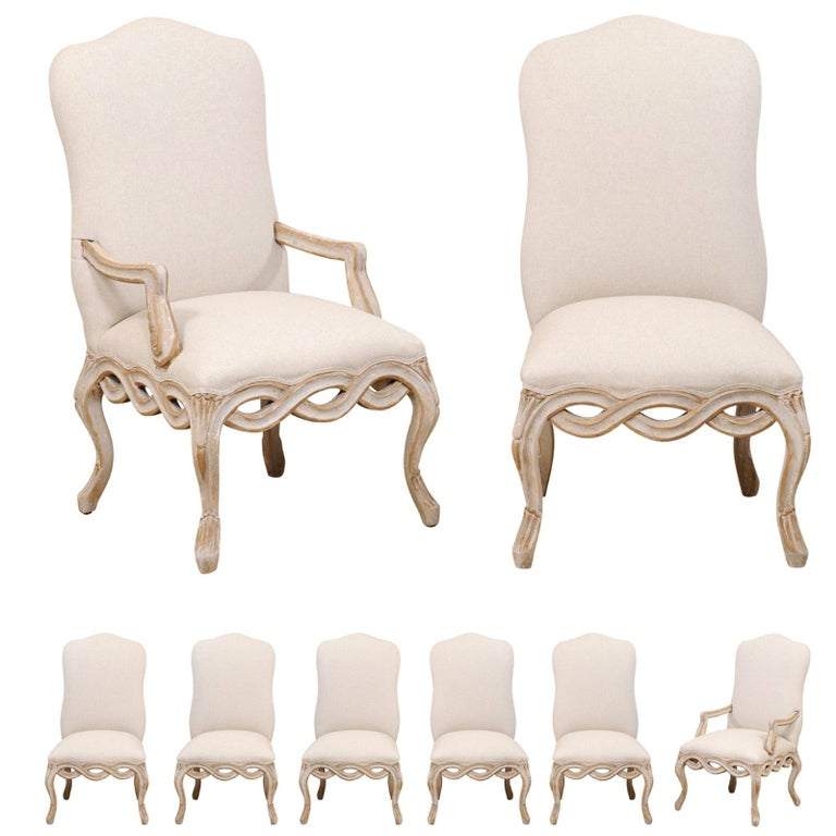 Set of 8 Venetian-Style Upholstered Dining Chairs w/ Pierce-Carved Ribbon Skirts For Sale