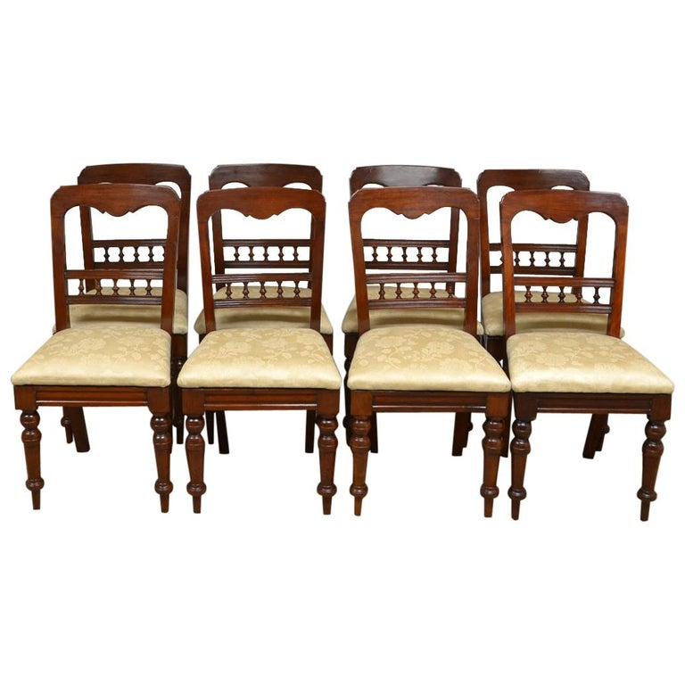 Antique Dining Room Chairs For Sale: Set Of 8 Victorian Mahogany Antique Dining Chairs For Sale