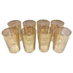 Set of 8 Vintage Art Deco Gold Band Cocktail Glasses