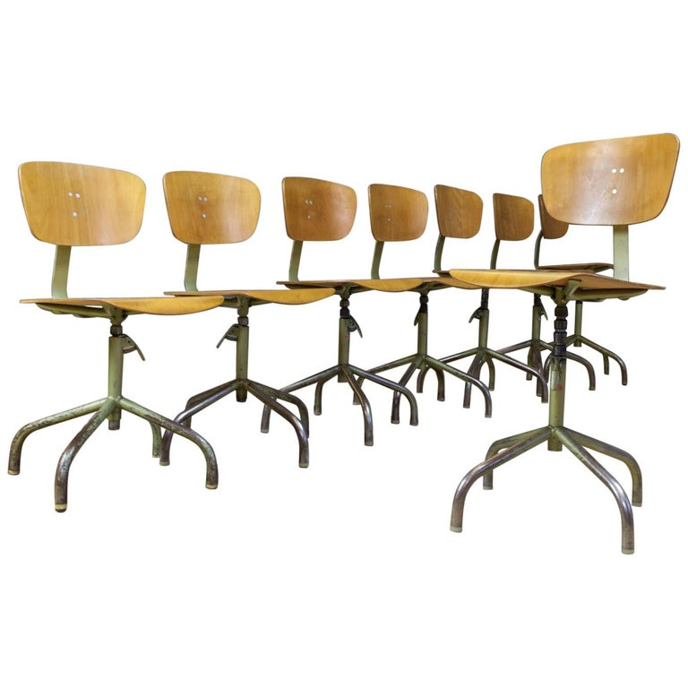 Set of 8 Vintage Desk Swivel Chairs in Metal and Plywood, Germany, 1960s