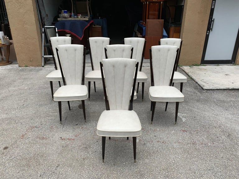 Set of 8 Vintage French Modern Solid Mahogany Dining Chairs, 1940s For Sale 4