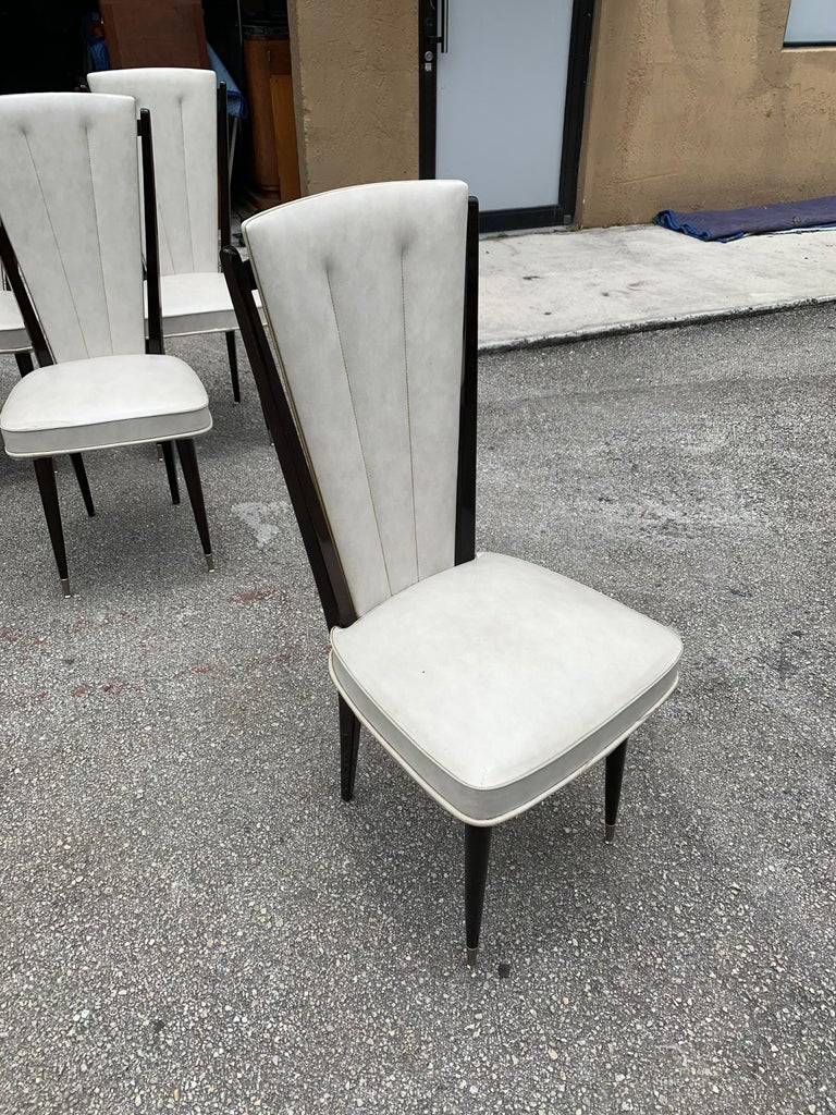 Set of 8 Vintage French Modern Solid Mahogany Dining Chairs, 1940s For Sale 5