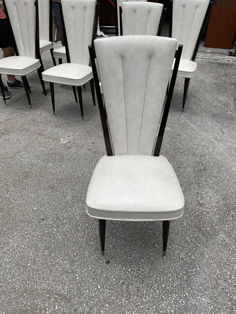 Set of 8 Vintage French Modern Solid Mahogany Dining Chairs, 1940s For Sale 6