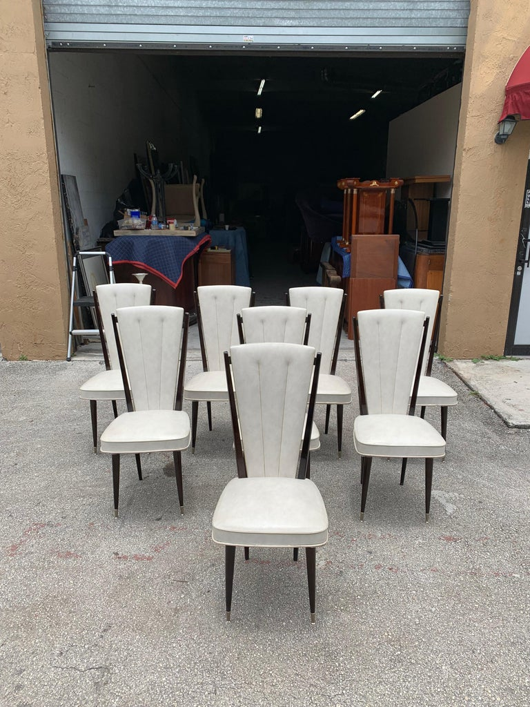 Mid-Century Modern Set of 8 Vintage French Modern Solid Mahogany Dining Chairs, 1940s For Sale