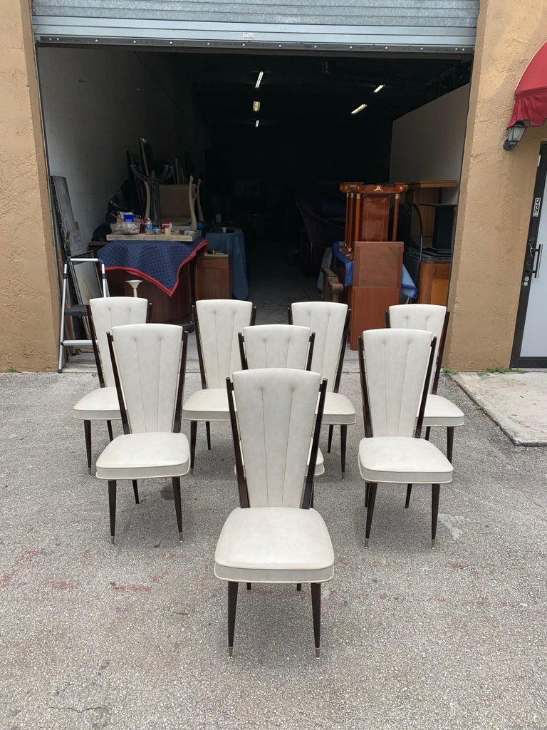 Mid-20th Century Set of 8 Vintage French Modern Solid Mahogany Dining Chairs, 1940s For Sale