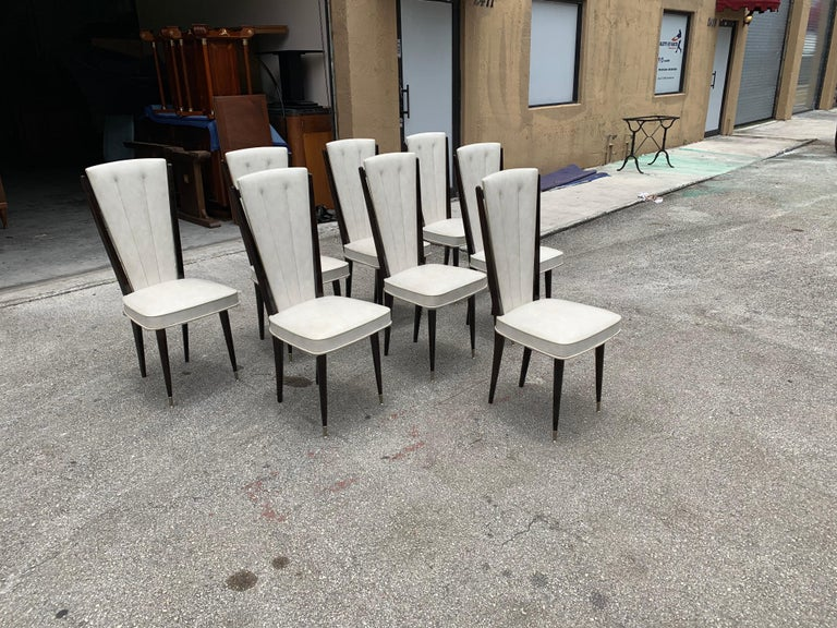 Brass Set of 8 Vintage French Modern Solid Mahogany Dining Chairs, 1940s For Sale