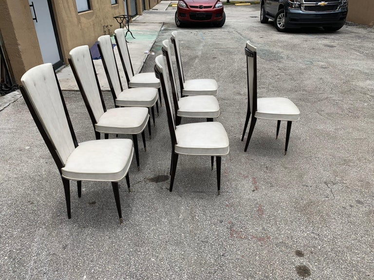 Set of 8 Vintage French Modern Solid Mahogany Dining Chairs, 1940s For Sale 1