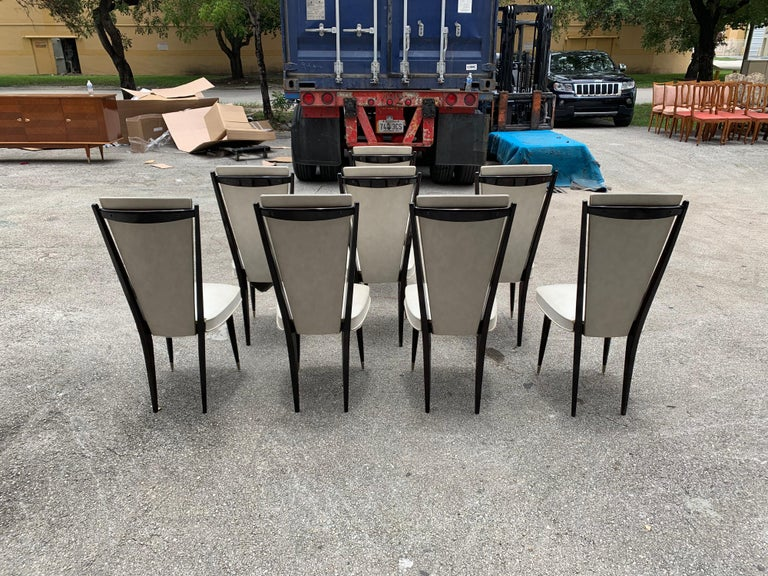 Set of 8 Vintage French Modern Solid Mahogany Dining Chairs, 1940s For Sale 2