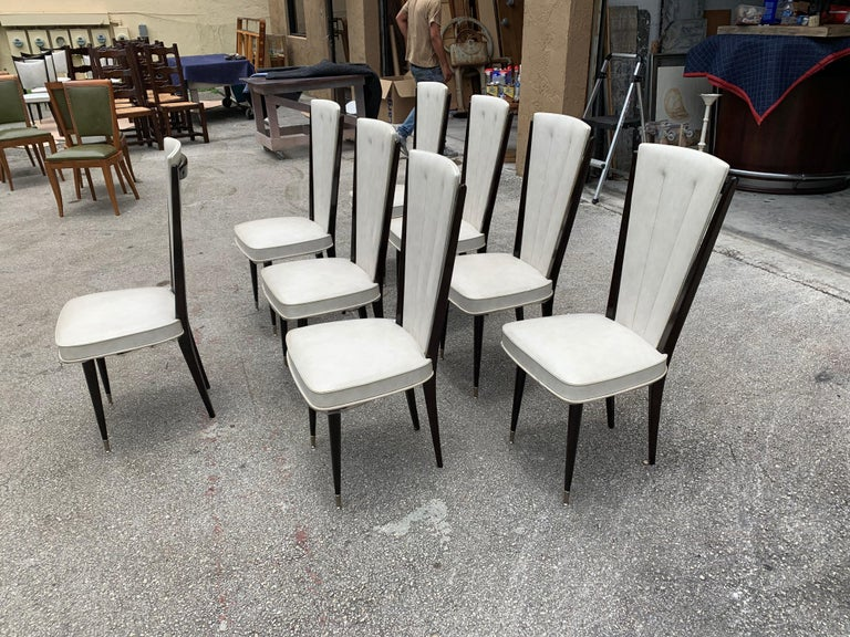 Set of 8 Vintage French Modern Solid Mahogany Dining Chairs, 1940s For Sale 3