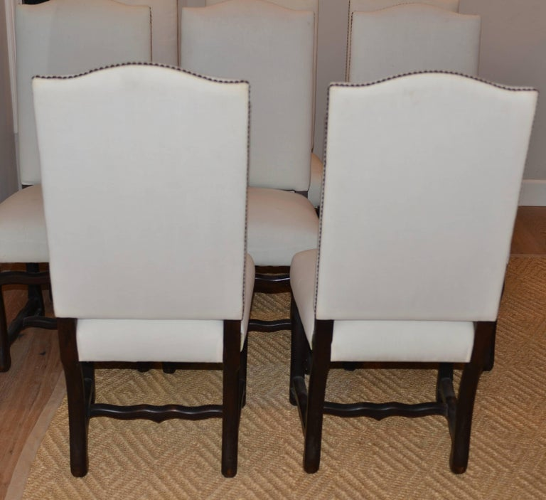Set of Eight Vintage French Os De Mouton Dining Chairs In Good Condition For Sale In Encinitas, CA