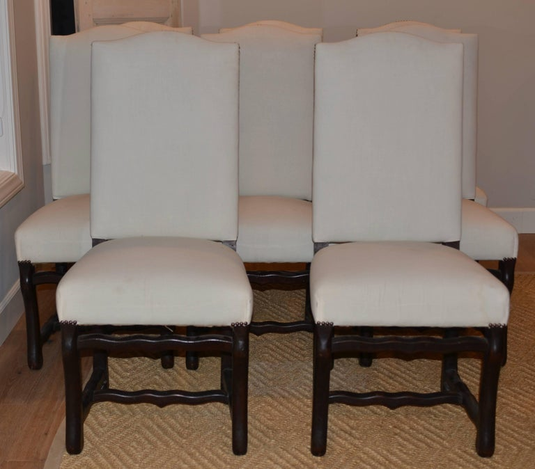 Set of Eight Vintage French Os De Mouton Dining Chairs For Sale 3