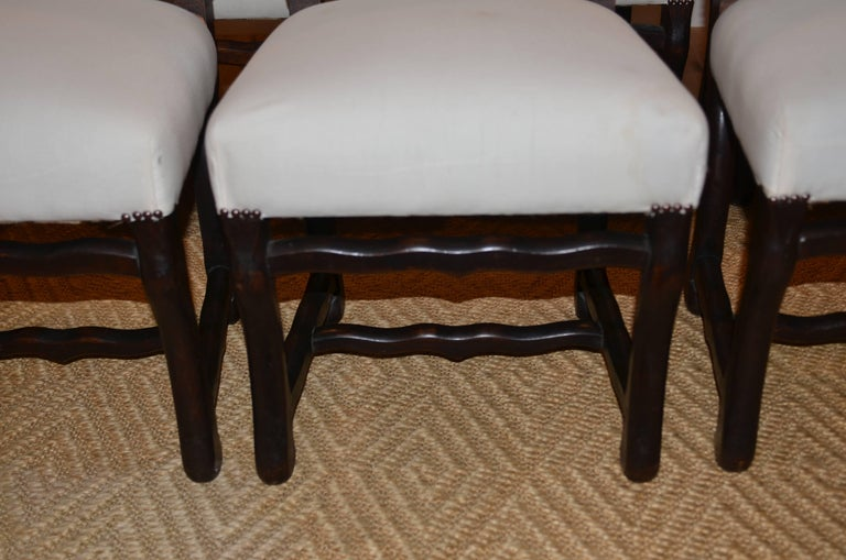 Set of Eight Vintage French Os De Mouton Dining Chairs For Sale 4
