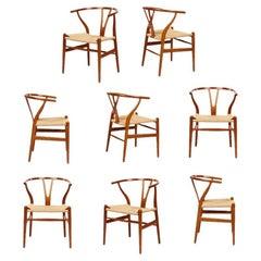 "Set of 8 Vintage Hans Wegner ""Wishbone"" Chairs"