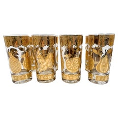 Set of 8 Vintage Highball Glasses by Culver in the Florentine Pattern