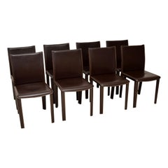 Set of 8 Vintage Italian Leather Dining Chairs by Arper