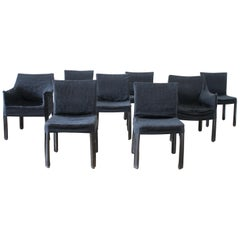 Set of 8 Vintage Leather Mid-Century Modern Chairs with Slip Covers