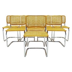 Set of 8 Vintage Marcel Breuer Design B32 Cesca Chairs in Beech, Cane and Chrome