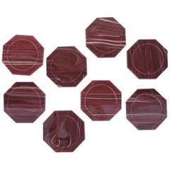 Set of 8 Vintage Onyx Marble Style Octagonal Acrylic Coasters