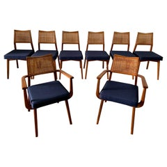 Set of 8 Vintage Walnut and Cane Dining Chairs