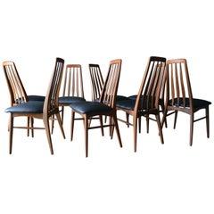 Set of 8 Walnut High Back 'Eva' Dining Chairs by Koefoed of Denmark, circa 1965