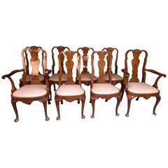 Set of 8 Walnut Queen Anne Style Dining Chairs