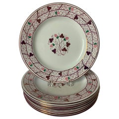 Set of 8 Wedgwood Lustre Pink Strawberry Desert Plates