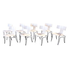 Set of 8 White Anziano Chairs by John Hutton for Donghia