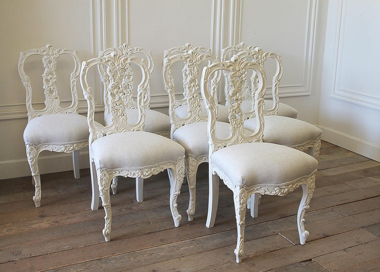 best service e069d 79d9c Set of 8 White Carved and Painted Dining Chairs