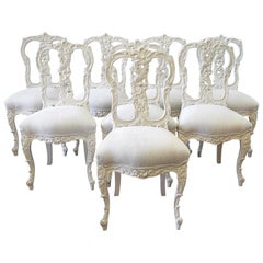 Set of 8 White Carved and Painted Dining Chairs