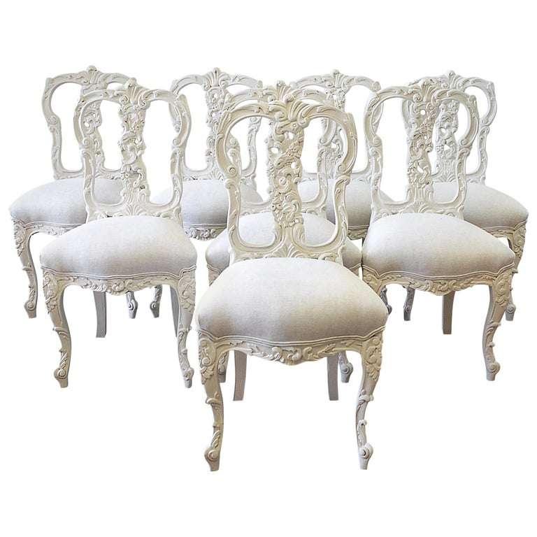 Dining Room Set With Bench Seating Painted Tongue And: Set Of 8 White Carved And Painted Dining Chairs For Sale