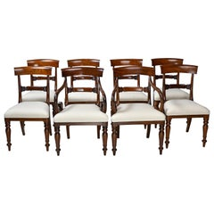 Set of 8 William IV Antique English Dining Chairs in Mahogany w 2 Arms & 6 Sides